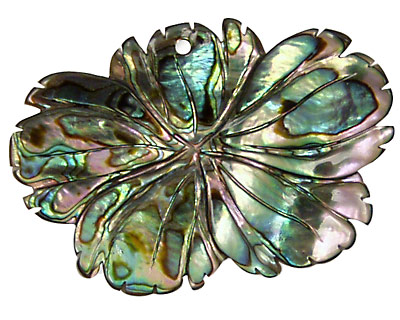 Abalone Carved Flower Pendant 44x30mm