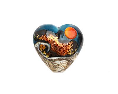 Grace Lampwork Romantic Isle Waves Heart 19-20mm
