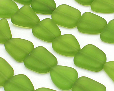Lime Green Recycled Glass Flat Freeform 15x13-15mm