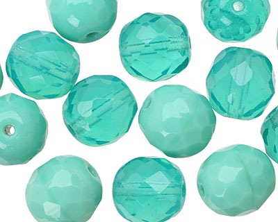 Czech Fire Polished Glass Multi Turquoise Round 12mm
