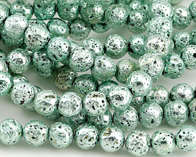 Metallic Mint (plated) Lava Rock Round 8mm