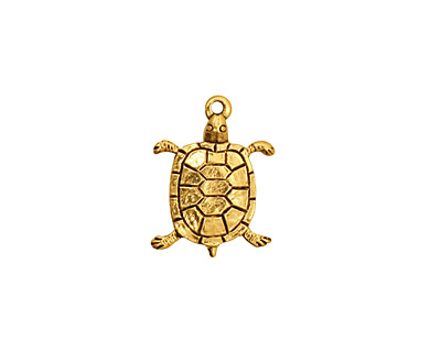 Stampt Antique Gold (plated) Turtle Charm 12.5x17mm
