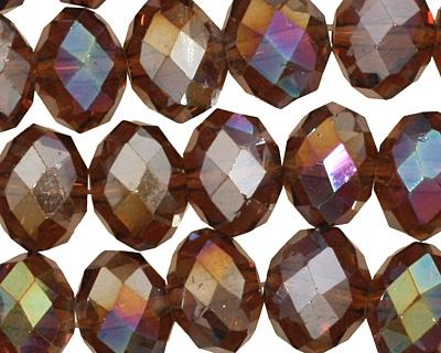 Mocha AB Crystal Faceted Rondelle 10mm
