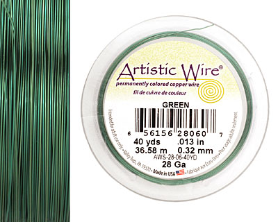 Artistic Wire Green 28 gauge, 40 yards