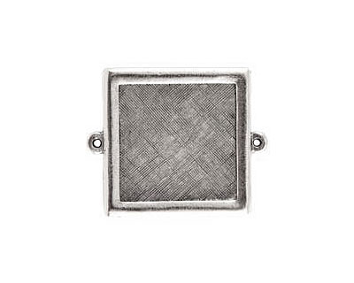 Nunn Design Antique Silver (plated) Framed Small Square Pendant Link 37x30mm