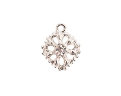 Nunn Design Sterling Silver (plated) Flower Crystal Charm 15x18mm