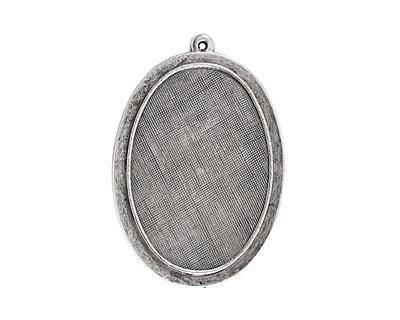 Nunn Design Antique Silver (plated) Raised Oval Pendant 31x47mm