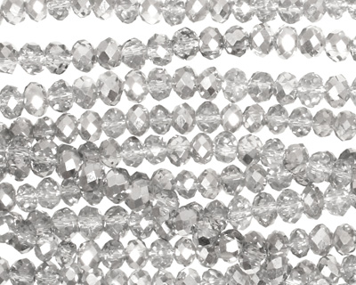 Silver & Clear Crystal Faceted Rondelle 4mm