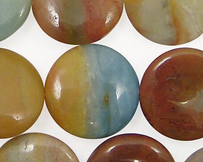 Rainbow Amazonite Puff Coin 20mm