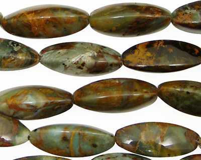 African Green Opal 3-Sided Rice 20x8mm