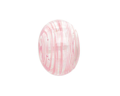 A Beaded Gift Pink Streak Glass Rondelle (hollow) 13-15x19-23mm