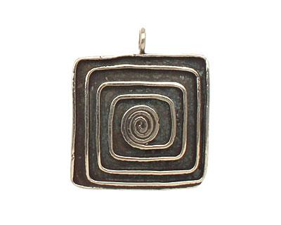 Saki White Bronze Square Spiral Pendant 23x27mm