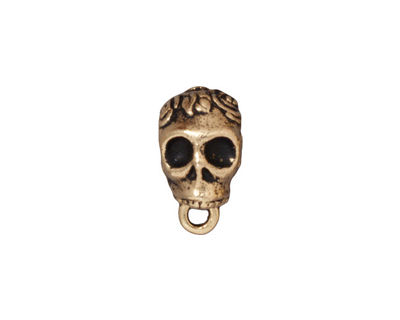 TierraCast Antique Gold (plated) .25 ID Skull Bail 8x12mm