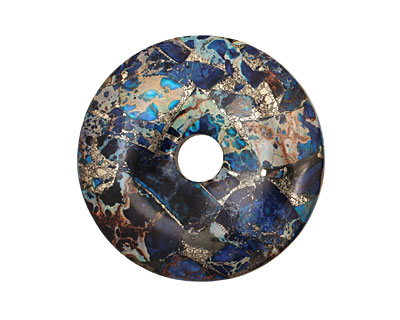 Midnight Blue Impression Jasper & Pyrite Donut 45mm