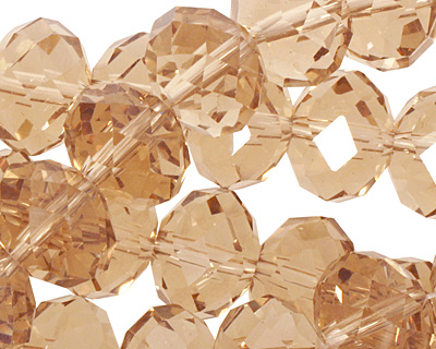 Champagne Crystal Faceted Rondelle 14mm