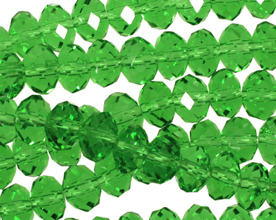 Kelly Green Crystal Faceted Rondelle 8mm