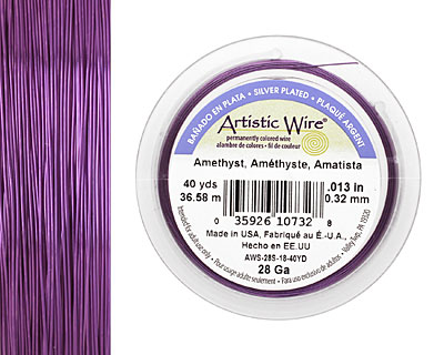 Artistic Wire Silver Plated Amethyst 28 gauge, 40 yards