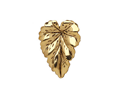 Stampt Antique Gold (plated) Leaf 16x22mm (no drill hole)