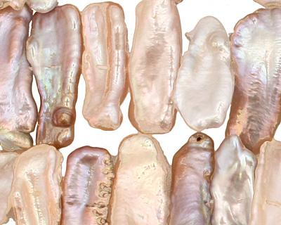 Angel Skin Pink Biwa Center Drilled 6-11x21-29mm