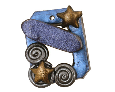 Poison Tree Polymer Clay Starry Night Toggle Clasp 24x20mm, 21mm bar