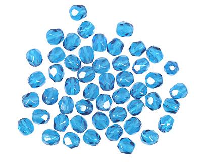 Czech Fire Polished Glass Capri Blue Round 3mm