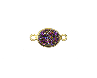 Druzy (metallic purple) Oval Link in Gold Vermeil 17x9mm