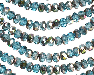 Czech Glass Metallic Aquamarine Fire Polished Rondelle 3x5mm