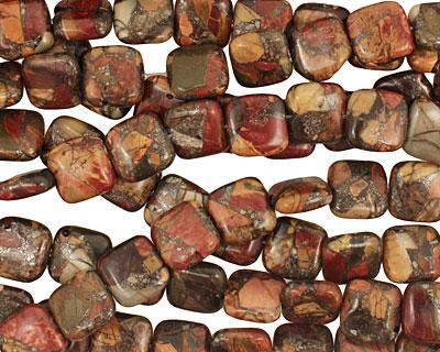 Red Creek Jasper w/ pyrite Puff Square 14mm
