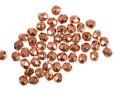Czech Fire Polished Glass Copper Penny Round 3mm