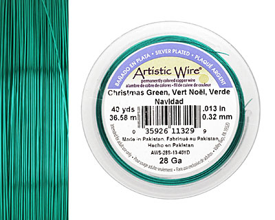 Artistic Wire Silver Plated Christmas Green 28 gauge, 40 yards