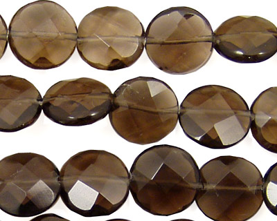 Smoky Quartz Faceted Coin 12mm