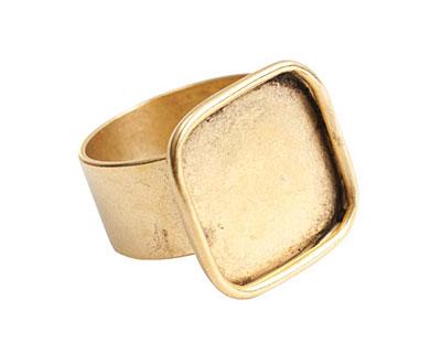Nunn Design Antique Gold (plated) Large Square Frame Adjustable Ring 18mm