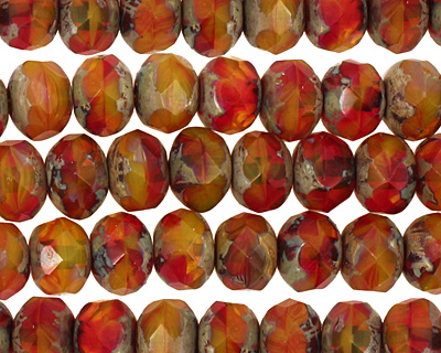 Czech Glass Christmas Morning Fire Polished Rondelle 6x9mm