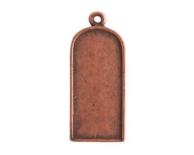 Nunn Design Antique Copper (plated) Ornate Flat Tablet Tag 13x30mm