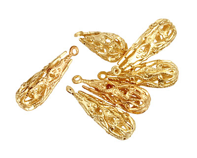 Brass Filigree Teardrop 7x19mm
