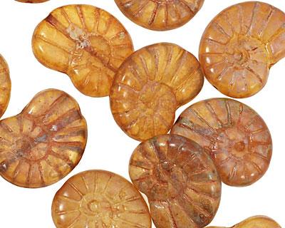 Czech Glass Butterscotch Ammonite 20x13mm