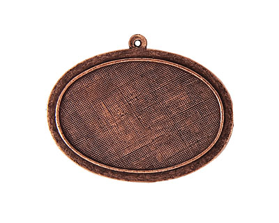 Nunn Design Antique Copper (plated) Horizontal Raised Oval Pendant 44x35mm