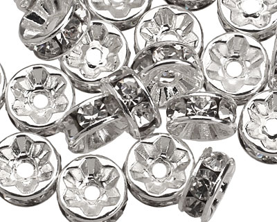 Silver (plated) Crystal Rhinestone Rondelle 8mm
