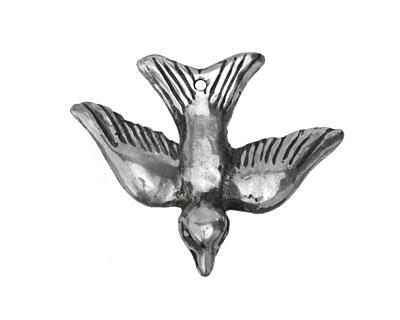 Green Girl Sterling Silver Gliding Bird Charm 33x27mm