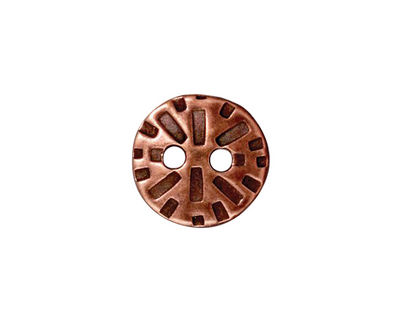 TierraCast Antique Copper (plated) Round Radiant Button 15mm