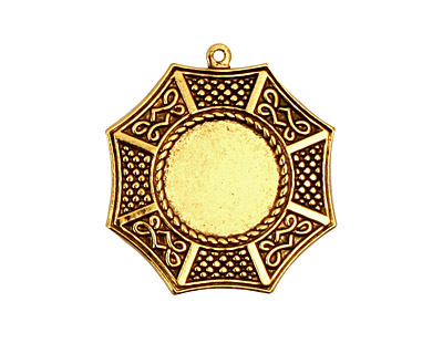 Stampt Antique Gold (plated) Bagua Round Setting 13mm