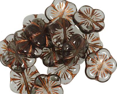 Czech Glass Copper Smoky Crystal 5 Petal Daisy 14mm