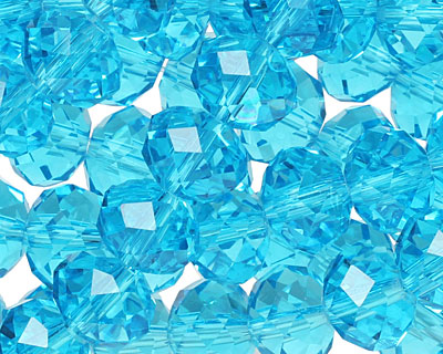 Aquamarine Crystal Faceted Rondelle 10mm