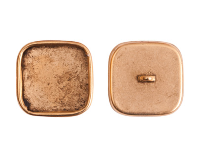 Nunn Design Antique Gold (plated) Large Square Frame Button 18mm