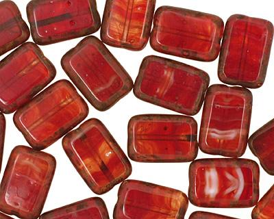 Czech Hurricane Glass Rustic Sunfire Rectangle 12x8mm