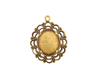 Stampt Antique Brass Victorian Lace Oval Setting 10x12mm