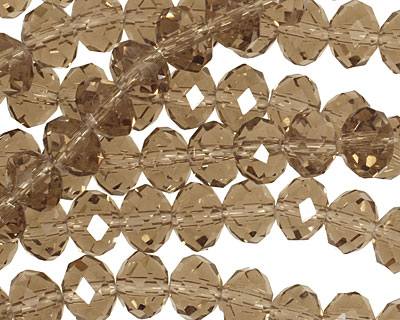 Smoky Crystal Faceted Rondelle 8mm