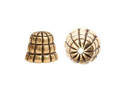 Nunn Design Antique Gold (plated) Sea Hive Bead Cap 10x12mm