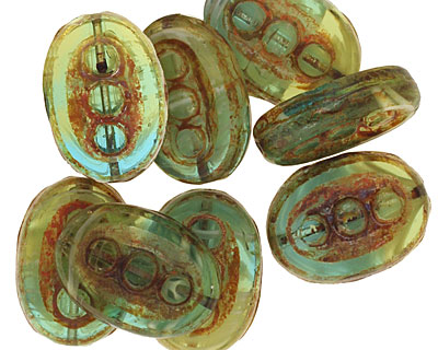 Czech Glass Sunny Coast Dotted Window Oval 18x13mm