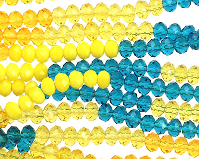 Sunny Crystal Mix Faceted Rondelle 4mm